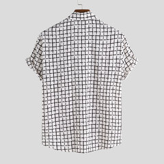 Mens beiläufige lose Soft Plaid Revers Short Sleeve Buttons Shirt