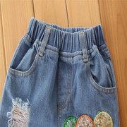 3Pcs Mädchen-Kinderkleidung stellte T-Shirt + Stickerei zerrissene Jeans Pants + Headband für 1Y-9Y ein