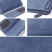 Women 2pcs Vintage Long Purse Pure Color Card Holder Wallet