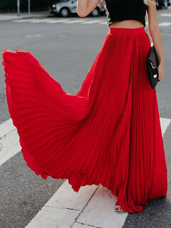 Pleated Solid Color Casual Maxi Skirt