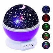 DecBest Romantic Rotating Spin Night Light Projector Cosmos Sky Star Moon USB Lamp Home Decor