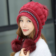 Women Matching Knit Hat And Glove Winter Set Cap With Ear Flaps Beanie Hat with Faux Fur Pom Pom
