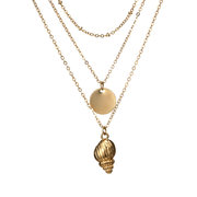 Bohemian Multi-layer Conch Pendant Long Necklace Round Charm Necklace for Women