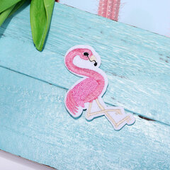 1 Pc Red White Embroidery Flamingo Cloth Paste / DIY Clothing Decoration Accessories Patch Paste