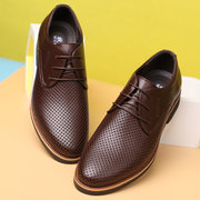 Men Microfiber Leather Hole Breathable Non Slip Casual Formal Shoes