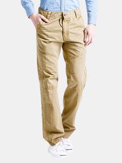 الرجال القطن البضائع السراويل مستقيم الساق الصلبة اللون انغلق السراويل عارضة