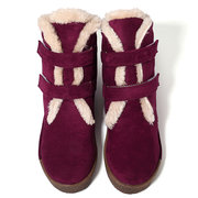 LOSTISY Suede Stitching Hook Loop Warm Plush Casual Ankle Flat Boots