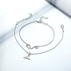 Bohemian Double-layer Silver Anklets Wavy Mermaid Tail Pendant Chain Anklet Vintage Jewelry