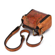New Retro Genuine Leather Bucket Handbag Hand Embossed Craft Flower Crossbody bag
