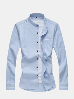 Mens Business Casual Print Button Down Solid Color Slim Dress Shirt