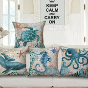Sea Turtle Seahorse Whale Octopus Cushion Hold Pillowcase Cushion Cover Bags Home Car Decor