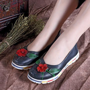 SOCOFY Retro Leather Handmade Flower Leaves Soft Slip On Flat Casual Shoes
