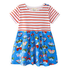 Dinosaur Printed Girls Casual Cotton Dresses Kids School Summer Clothes For 1Y-9Y
