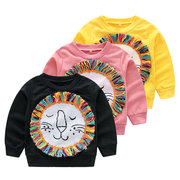 Cartoon Lion Print Girls sudadera de manga larga para 1Y-7Y