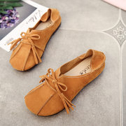 Soft Leather Slip On Comfortable Lady Flat Loafers