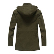 Plus Size Casual Outdoor Military Work Mid Long Loose Hooded Jackets for Men