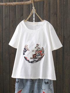 T-Shirt manica corta casual ricamo Crew Collo
