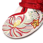 Большой Размер Цветы Вышитый Китайский Узел Винтаж Плоские Повседневные Обуви
