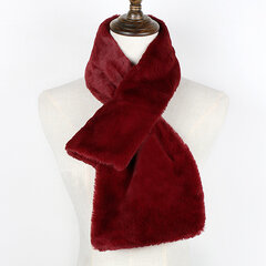 Women Solid Color Warm Artificial Rex Rabbit Fur Thick Neck Scarf Windproof Fluffy Fake Fur Collar