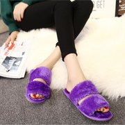 Furry Two Strappy Warm Flat Indoor Slip On Slippers