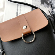 Women PU Leather Patchwork Mini Crossbody Bag Hitcolor Phone Bag