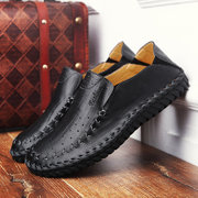 Uomo Loafers Bassi in Pelle Respirabile e Morbida da Slip-On con Cucitura a Mano