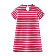 Elephant Appliqued Girls Short Sleeve Casual Dress For 1-9Years