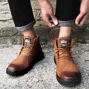 Hombres vendimia Estilo de trabajo Cinturón de cuero para vestir con forro cálido Botas