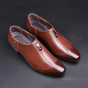 Men Microfiber Leather Non-slip Metal Buckle Slip On Casual Formal Shoes