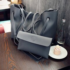 Women Large Capacity 2Pcs Handbags PU Leather Shoulder Bag Crossbody Bag