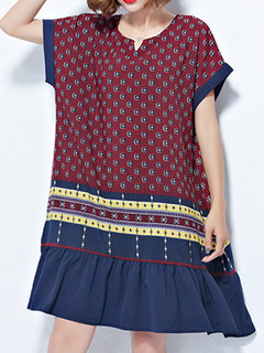 Ethnic Printed Women Short Sleeve Vintage Dresses