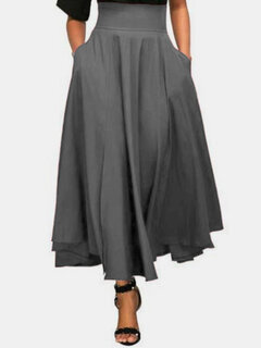 Solid Color High Waist Bandage Women Maxi Skirt