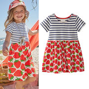 Strawberry Printed Girls Casual Cotton Dresses Kids Summer Dress for Party School