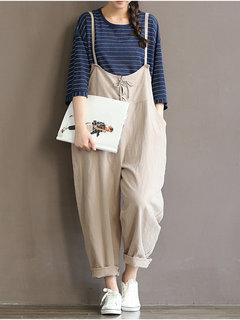 Fato de Macacão Moda de cores Sólidos com alça e bolso para as mulheres