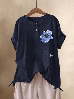 T-Shirt a maniche corte con stampa floreale a fiori Collo