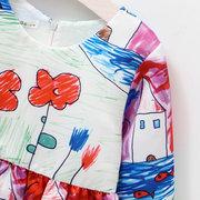 Robe à imprimé floral A-ligne avec nœud papillon robe de fête pour fille