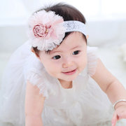 Flower Lace Bowknot Patch Girls Headband For 0-24M