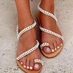 Sandali piatti con cinturino rivetto casual da donna di grandi dimensioni