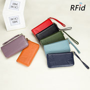 RFID Genuine Leather 6inch Phone Bag High Capacity Long Wallet Clutch Purse For Women