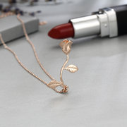 Luxury Rose Gold Silver Rose Pendant Necklace Sweet Valentine's Day Gift Necklace for Women