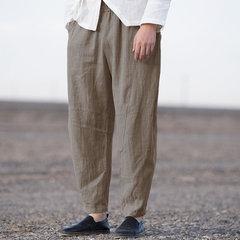 Mens estilo folgado de algodão breve cor pura solta cintura elástica cordão moda casual harem Calças