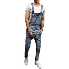 Denim Overalls Suspenders Ripped Jeans para Hombres