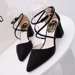 Pointe Toe Strappy Buackle Square Heel Lace Pumps