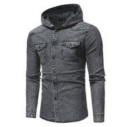 Veste à capuche décontractée élégante en coton délavé avec poche en coton pour homme