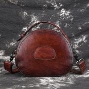Women Vintage Genuine Leather Handbags Hand Brush Crossbody Bags