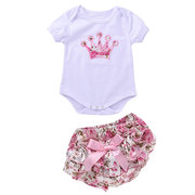 Princess Crown Pattern Floral Printed Girl Party Clothes Set For 0-18M