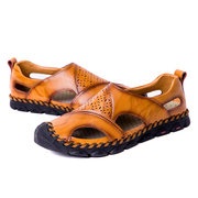 Menico Large Size Men Hand Stitching Hole Carved Soft Leather Sandals