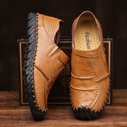 Men Hand Stitching Anti-collision Toe Soft Slip On Leather Shoes
