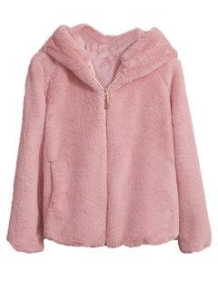 Elegant Solid Color Faux Fur Zipper Hooded Coats