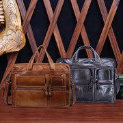 الرجال جلد طبيعي حقيبة الأعمال حقيبة كمبيوتر محمول حقيبة الكتف خمر